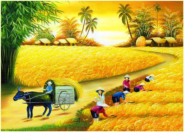 Tranh phong cảnh làng quê tuyệt đẹp mùa lúa chín: mã in TH-13969