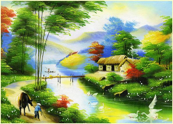 Phong cảnh làng quê Việt Nam đơn sơ, mộc mạc: mã in TH-13974