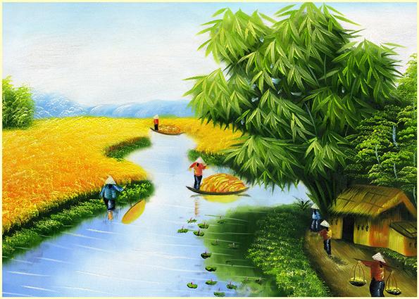 Tranh phong cảnh làng quê tuyệt đẹp mùa lúa chín: mã in TH-13975