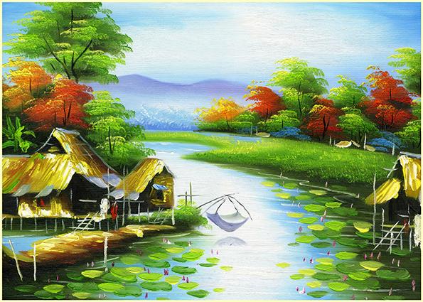 Phong cảnh làng quê Việt Nam đơn sơ, mộc mạc: mã in TH-13976