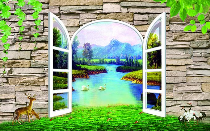 TH-58P-01130-copy - Tóm ngay 20 mẫu tranh dán tường 3d cửa sổ đẹp nhất để mở rộng không gian