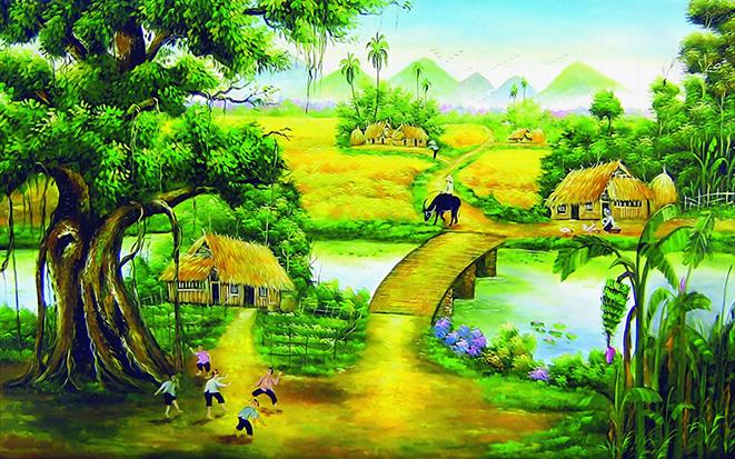 Tranh phong cảnh làng quê Việt Nam đẹp bình dị: mã in TH-86-copy