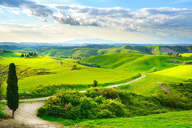 Tranh dán tường 3D phòng ngủ, tranh phong cảnh đẹp: mã in Tuscany, rural sunset landscape. Countryside farm, white road an