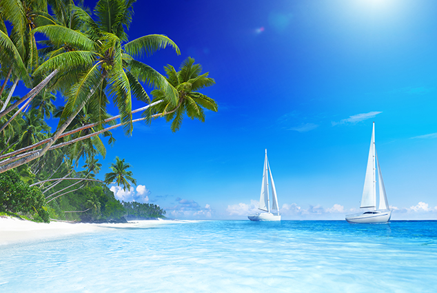 """THS_0888 - Tranh dán tường 3d phong cảnh biển mênh mông, sóng nước thi nhau xô vào bờ khiến tâm hồn người ngắm như được """"gột rửa"""" bằng nước muối...biển"""