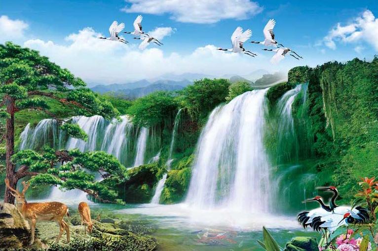 Tranh thác nước đẹp, mang lại giàu sang, may mắn: mã in TH_04757