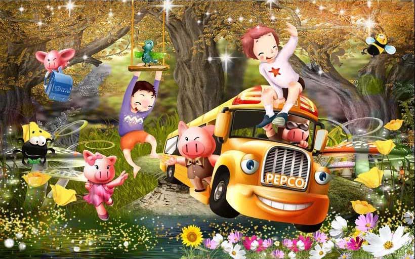 TH_07536 - Tranh dán tường 3d hoạt hình dán phòng bé yêu - món quà Trung Thu ý nghĩa nhất
