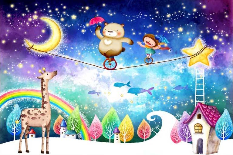 TH_08196 - Tranh dán tường 3d hoạt hình dán phòng bé yêu - món quà Trung Thu ý nghĩa nhất