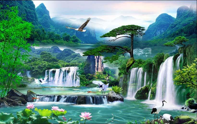 Mãn nhãn với 25 mẫu tranh phong cảnh thác nước 3d đẹp nhất thế giới: mã in TH_08434