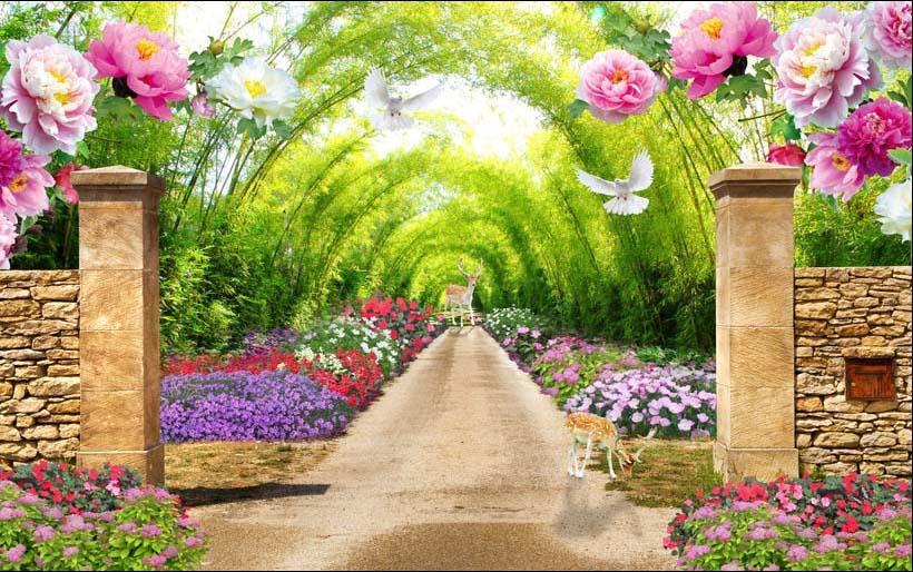 Beautiful path with lavender, leading to the house in Provence. France - Tranh dán tường 3d - cách trang trí quán trà sữa, quán cà phê ấn tượng nhất