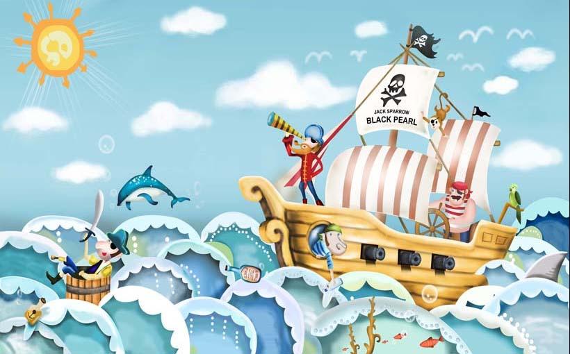 TH_09720 - Tranh dán tường 3d hoạt hình dán phòng bé yêu - món quà Trung Thu ý nghĩa nhất