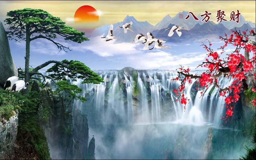 Tranh thác nước 3d phong thủy tuyệt đẹp: mã in TH_09801