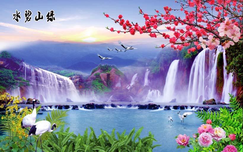 Tranh thác nước 3d phong thủy tuyệt đẹp: mã in TH_09953