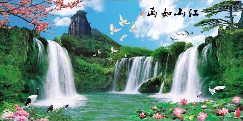 Tranh thác nước 3d phong thủy tuyệt đẹp: mã in TH_10274