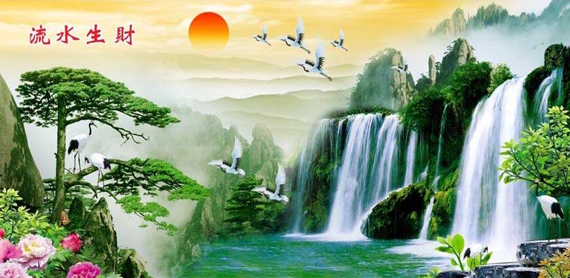 Tranh thác nước 3d phong thủy tuyệt đẹp: mã in TH_10275