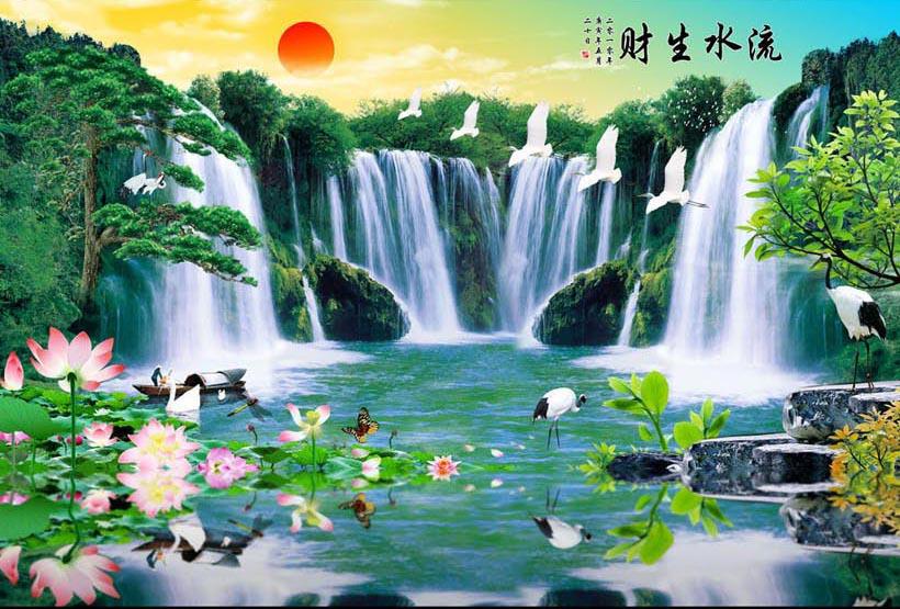 Tranh thác nước 3d phong thủy tuyệt đẹp: mã in TH_10282