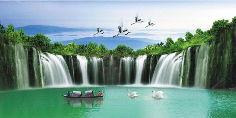 Tranh thác nước 3d phong thủy tuyệt đẹp: mã in TH_10286