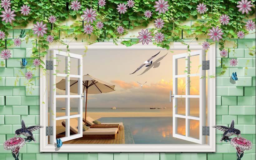 TH_11425 - Tóm ngay 20 mẫu tranh dán tường 3d cửa sổ đẹp nhất để mở rộng không gian