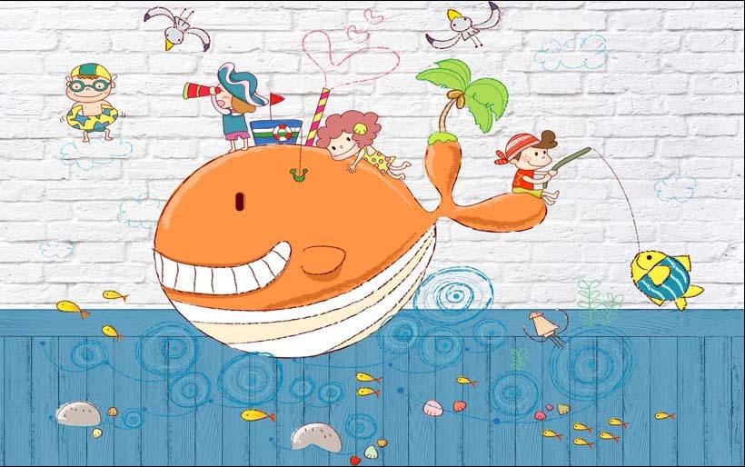 TH_11804 - Tranh dán tường 3d hoạt hình dán phòng bé yêu - món quà Trung Thu ý nghĩa nhất