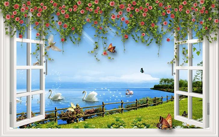 Tranh dán tường phòng khách 3d - Tranh cửa sổ: mẫu in TH_23940
