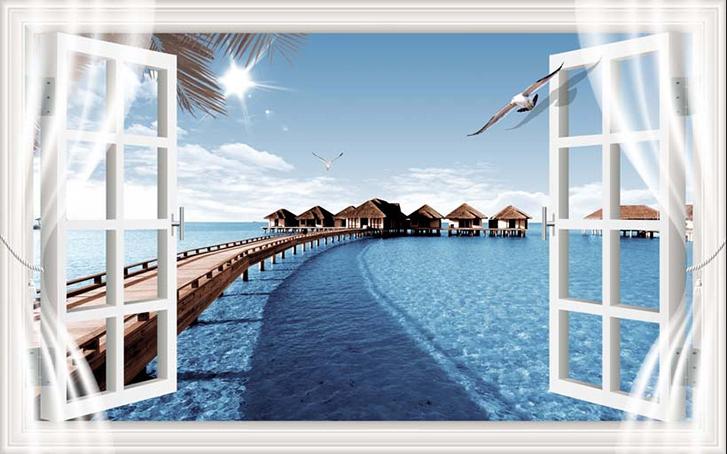 Tranh dán tường phòng khách 3d - Tranh cửa sổ: mẫu in TH_23941