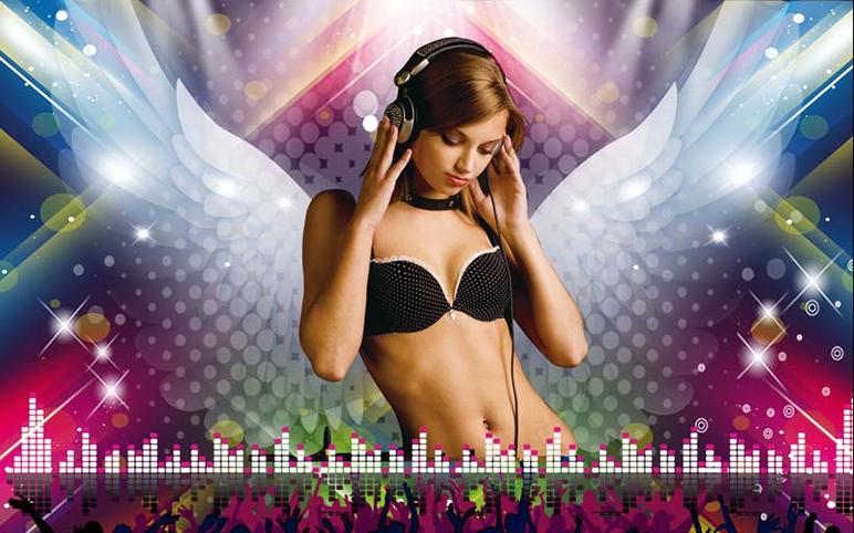 TH_25705 - Mẫu tranh 3d dán tường quán karaoke đẹp, độc, lạ và táo bạo nhất hiện nay