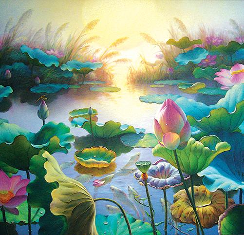 Tranh hoa sen mộc mạc, thanh tao: mẫu inTH_O_00280