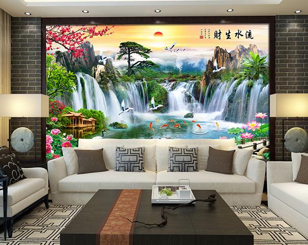 Tranh thác nước 3d tuyệt đẹp khi dán tường phòng khách