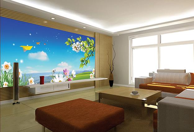 In tranh dán tường 3D phòng khách đẹp nhất, chất lượng nhất tại Thiên Hà