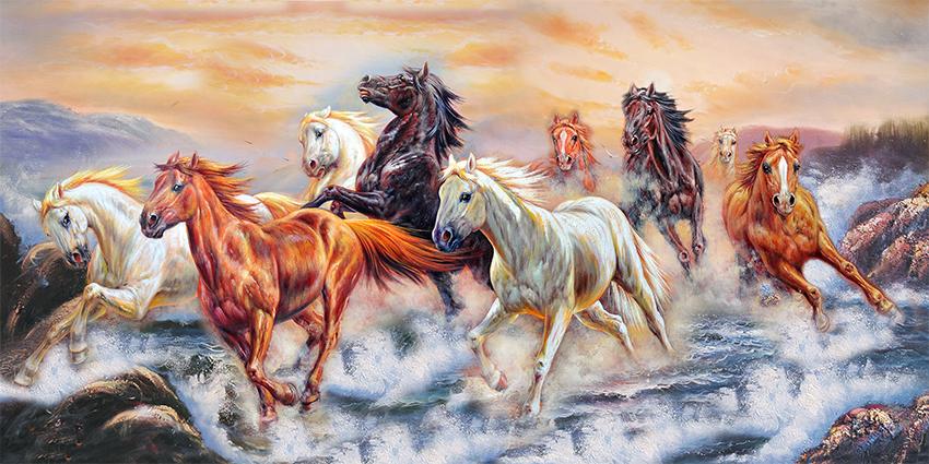 Tranh ngựa 3D tuyệt đẹp cho phòng khách: mã in TH-3599-copy