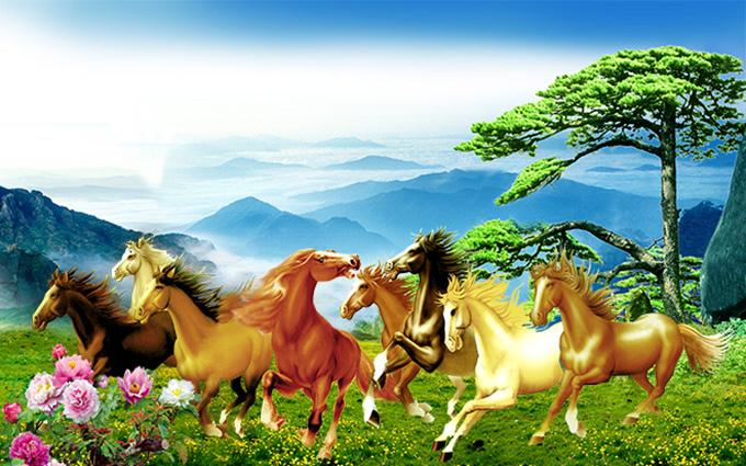 Tranh ngựa 3D tuyệt đẹp cho phòng khách: mã in TH-58P-005212-copy