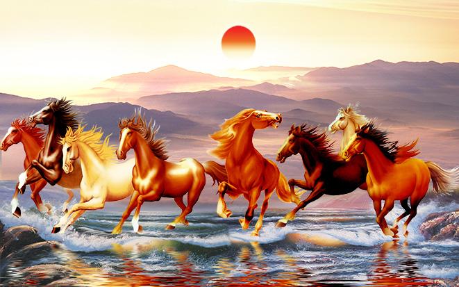 Tranh ngựa 3D tuyệt đẹp cho phòng khách: mã in TH-58P-005228-copy