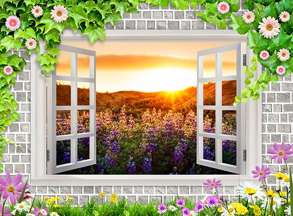 Tranh 3D phòng khách hình cửa sổ đẹp nhất: mã in TH-58P-01130-copy