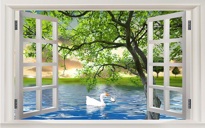 Tranh 3D phòng khách hình cửa sổ đẹp nhất: mã in TH-58P-01479-copy