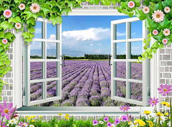 Tranh 3D phòng khách hình cửa sổ đẹp nhất: mã in TH-58P-02278-copy