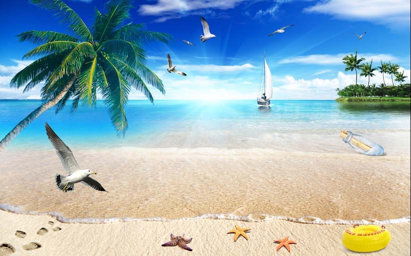 sand of beach caribbean sea - Những mẫu tranh cảnh biển 3d đẹp khó cưỡng tại xưởng in Thiên Hà
