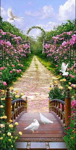 TH_10889 - Các mẫu tranh thường dùng trang trí lối đi, hành lang, dọc con đường đi dạo trong hoa viên
