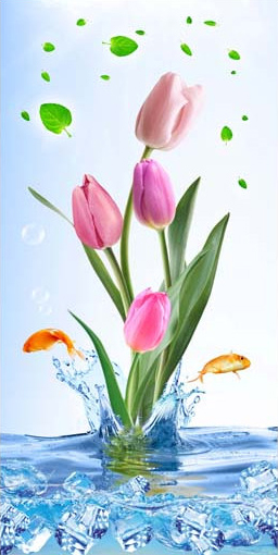 TH_10962 - Phòng bếp sẽ phù hợp với các mẫu tranh đứng với chủ đề bình hoa