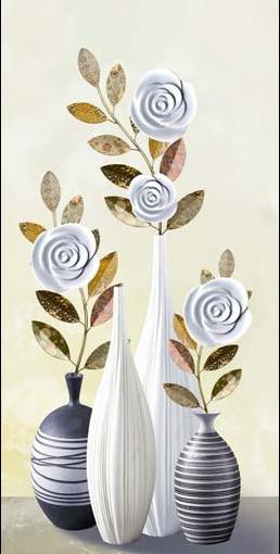TH_10966 - Phòng bếp sẽ phù hợp với các mẫu tranh đứng với chủ đề bình hoa