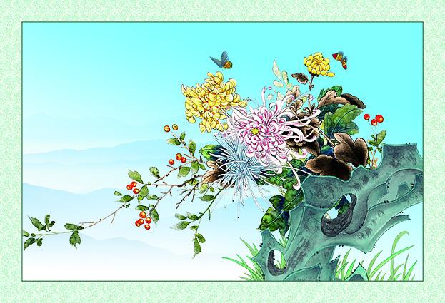 Tranh tứ quý: mẫu in tranh hoa cúc zth0389-copy