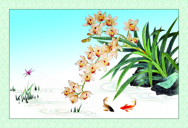 Tranh tứ quý: mẫu in tranh hoa lan zth0390-copy