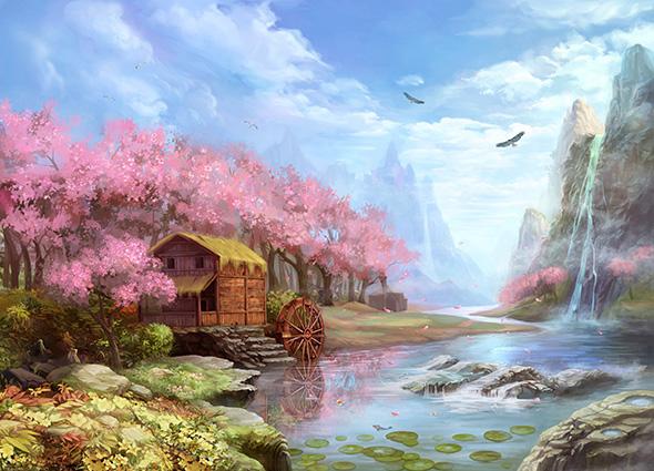 Tranh 3d phong cảnh mùa xuân mang đến nguồn cảm hứng bất tận cho ngôi nhà bạn - TH-58P-01995-copy