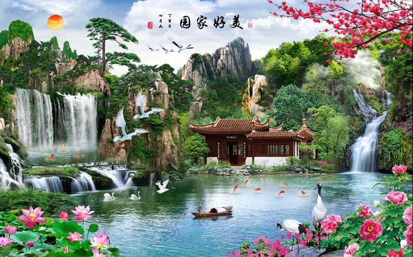 Tranh 3d phong cảnh mùa xuân mang đến nguồn cảm hứng bất tận cho ngôi nhà bạn - TH_09095