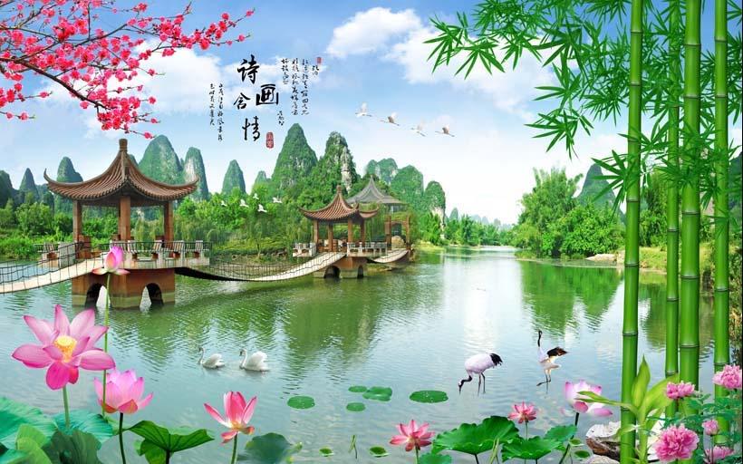 Tranh 3d phong cảnh mùa xuân mang đến nguồn cảm hứng bất tận cho ngôi nhà bạn - TH_09692