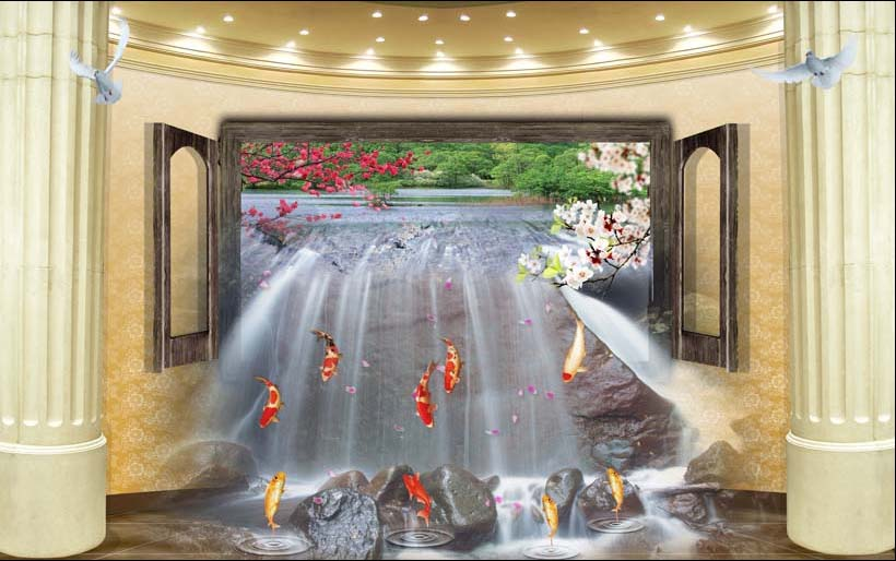 Xưởng in tranh 3d khổ lớn theo yêu cầu Thiên Hà giới thiệu mẫu tranh 3d dán tường siêu phong thủy giúp gia chủ hút tài lộc vào nhà:TH_09800