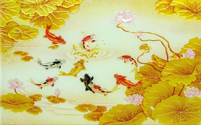 TH_10474 - Tranh hoa sen cá chép - biểu tượng của sự kiên định và thành công