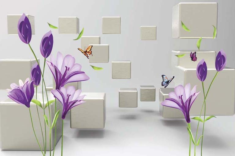 Phòng ngủ chất lừ với mẫu tranh 3d dán tường mã số: TH_11611